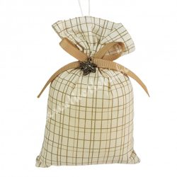 Akasztós illatzsák, kockás, fém falevéllel, 9,5x13 cm