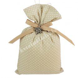 Akasztós illatzsák, pöttyös, fém falevéllel, 9,5x13 cm