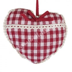 Akasztós textil szív, piros kockás, 13x11,5 cm