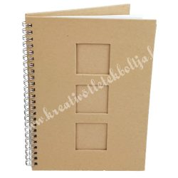 Papírmasé album - A5-ös, 3 ablakos, négyzet kivágással