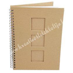Papírmasé füzet - A5-ös, 3 ablakos, négyzet kivágással