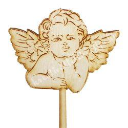 Beszúrós dísz, könyöklő angyal, 9x22 cm