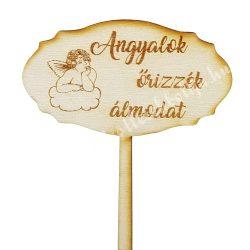Beszúrós dísz, tábla, Angyalok őrizzék álmodat, 9,8x20,5 cm