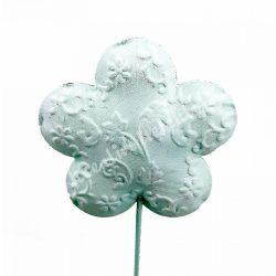 Betűzős, fém virág, világoskék, 6,5x30,5 cm