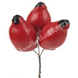 Betűzős gipsz csipkebogyó, kb. 9 cm, 3 db/csokor