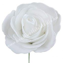 Betűzős polifoam rózsa, fehér, 7 cm