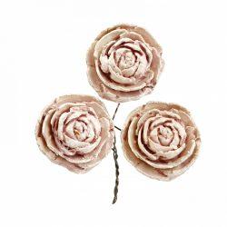 Betűzős rózsa, vintage rózsaszín, 3 db/csokor