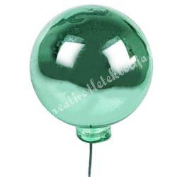 Betűzős üveggömb, mentazöld, fényes, 4 cm