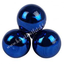 Betűzős üveggömb, sötétkék, fényes, 3 db/csokor, 2,5 cm
