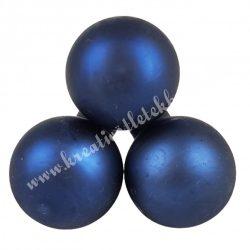 Betűzős üveggömb, sötétkék, matt, 3 db/csokor, 2,5 cm