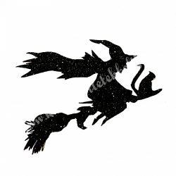 Csillámos dekorgumi boszorkány seprűn