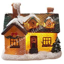 Barna, zöld házikó, csillámos, led világítással, 9x8 cm