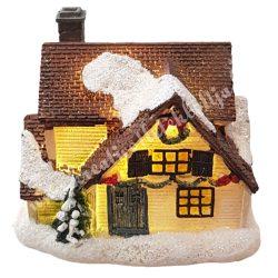 Bézs, barna házikó, csillámos, led világítással, 9x8 cm
