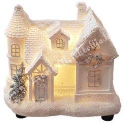 Fehér házikó, csillámos, led világítással, 10x8 cm