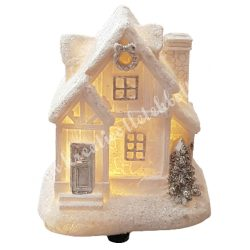 Fehér házikó, csillámos, led világítással, 8x9 cm