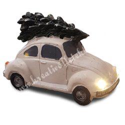 Autó fenyőfával, fehér, led világítással, 10,5x7 cm