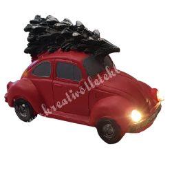 Autó fenyőfával, piros, led világítással, 10,5x7 cm