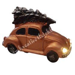Autó fenyőfával, barna, led világítással, 10,5x7 cm