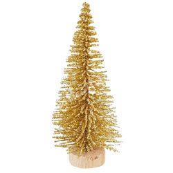 Fenyőfa, csillámos, arany, 8 cm