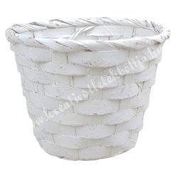 Bambusz kaspó, fehér, 16x14 cm