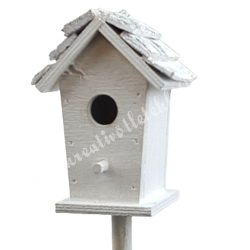 Beszúrós fa madárház, fehér, 7,5x7x41cm