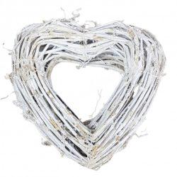 Fonott vessző szív, fehér, 22 cm