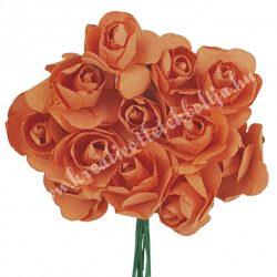 Papír rózsacsokor, narancs, 12 szál/csokor