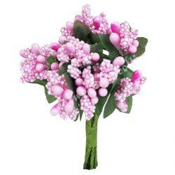 Bogyós mini csokor, rózsaszín, 9 cm