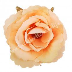 Fodros mini rózsafej, barack, 4 cm