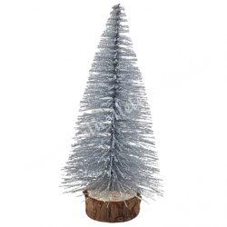 Fenyőfa, csillámos, ezüst, 14 cm