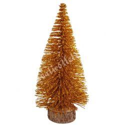 Fenyőfa, csillámos, barokk arany, 14 cm