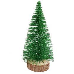 Fenyőfa, csillámos, erdőzöld, 14 cm