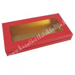 Lapos tégla papírdoboz piros, arany belsővel, 30x4,5 cm