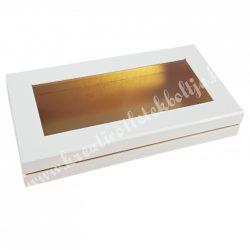 Lapos tégla papírdoboz fehér, arany belsővel, 30x4,5 cm