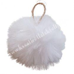 Akasztós pihe-puha pompon, fehér, 6 cm