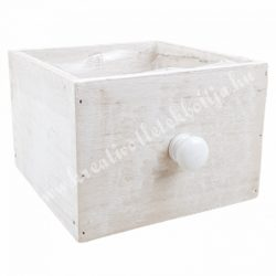 Fadoboz gombbal, négyzet, törtfehér, 15x17x10,5 cm