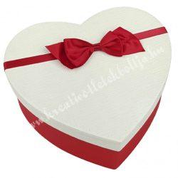 Szív alakú doboz, fehér-piros, piros masnival, 15,5x6 cm