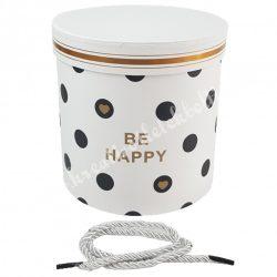 """Henger alakú doboz, pöttyös, """"Be Happy"""" felirattal, 17x17cm"""