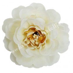 Fodros virágfej, krémfehér, 4 cm