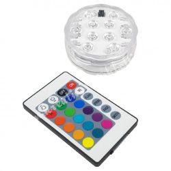 Merülő party fény, vízálló 10 LED-es, távirányítóval, 7x2,5 cm