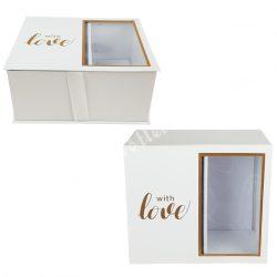 Virág-ajándék doboz, fehér, 24x11 cm
