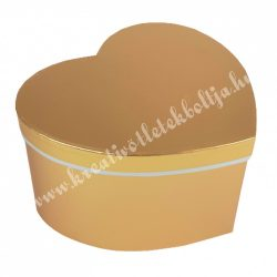 Szív alakú doboz, metál arany, 19,5x10,5 cm