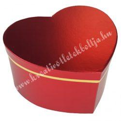 Szív alakú doboz, metálpiros, 19,5x10,5 cm