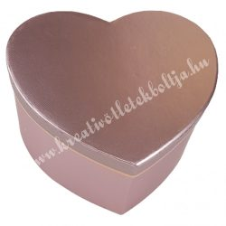 Szív alakú doboz, metálrózsaszín, 19,5x10,5 cm