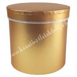 Kör alakú doboz, metál arany, 15,5x14,5 cm