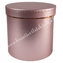 Kör alakú doboz, metál rózsaszín, 15,5x14,5 cm