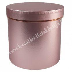 Kör alakú doboz, metál rózsaszín, 17,5x17 cm