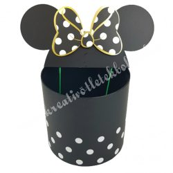 Pöttyös doboz beszúrós masnis fülekkel, fekete, 24,5x31 cm