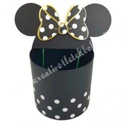 Pöttyös doboz beszúrós masnis fülekkel, fekete, 27x34 cm