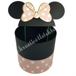 Pöttyös doboz beszúrós masnis fülekkel, rózsaszín, 27x34 cm